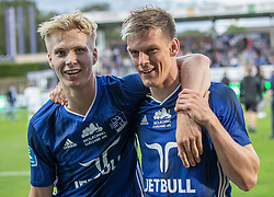 Magnus Warming (Lyngby Boldklub) og Kasper Enghardt (Lyngby Boldklub) efter kampen i 3F Superligaen mellem Lyngby Boldklub og Hobro IK den 20. juli 2020 på Lyngby Stadion (Foto: Claus Birch).