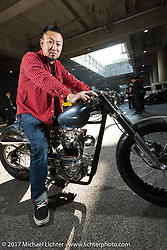 Heiwa Motorcycles 2016 Mooneyes best of show Triumph before the grand entry into the 26th Annual Yokohama Hot Rod and Custom Show 2017. Yokohama, Japan. Sunday December 3, 2017. Photography ©2017 Michael Lichter.