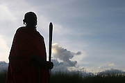 Africa, Tanzania, A silhouette of a Maasai Man with traditional staff in hand at sunset an ethnic group of semi-nomadic people February 2006