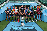 Football - 2019 / 2020 Gallagher Premiership Rugby - New Season Launch Media Photocall<br /> <br /> (From l to r), Wasps' Dan Robson, Sale Sharks' Chris Ashton, Harlequins' Mike Brown, Gloucester Rugby's Danny Cipriani, Saracens' Alex Goode, Exeter Chiefs' Don Armand, Bath Rugby's Rhys Priestland, Leicester Tigers' Tom Youngs, Worcester Warriors' Francois Hougaard, London Irish' Blair Cowan, Bristol Rugby's Nathan Hughes, Northampton Saints' Tom Wood, at Twickenham.<br /> <br /> COLORSPORT/ASHLEY WESTERN