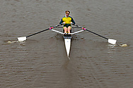 Despite recreational boating being banned under state 4 restrictions, a rower in a single scull is seen on the Yarra River during COVID-19 in Melbourne, Australia. Victoria has recorded 14 COVID related deaths including a 20 year old, marking the youngest to die from Coronavirus in Australia, and an additional 372 new cases overnight. (Photo by Dave Hewison/Speed Media)