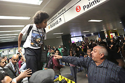 October 5, 2018 - Sao Paulo, Sao Paulo, Brazil - Social movements and immigrants make a protest in the Republic subway station, against the aggression of security to immigrants on September 28. Two Nigerian brothers and one Cameroonian woman were injured after being beaten by security guards at the Sao Paulo subway station, República, located downtown. Shakiro and Ulabin, who work as stockists, returned from work and were going home when the assaults began. On October 05, 2018, in Sao Paulo, 2018. (Credit Image: © Fotorua/NurPhoto/ZUMA Press)