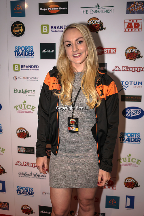 London,England,UK. 14th May 2017. Mica McNeill of the British bobsleigh attends the BBL Play-Off Finals also fundraising for Hoops Aid 2017 but also a major fundraising opportunity for the Sports Traider Charity at London's O2 Arena, UK. by See Li