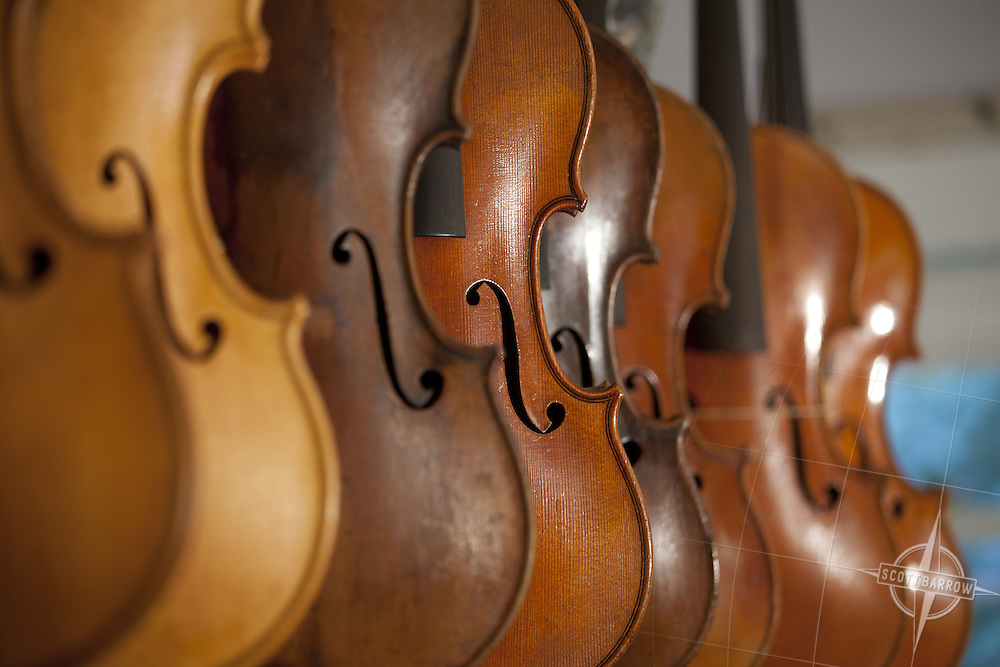 Violins and violas for sale in Francis Morris' Shop in Great Barrington, MA.
