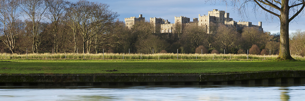 Winter dawn over Windsor Castle from the River Thames, Berkshire, Uk