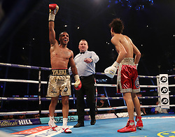 Khalid Yafai celebrates victory over Sho Ishida during the WBA World Super Flyweight Title bout at the Principality Stadium, Cardiff.