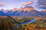 Morning light on the Tetons from the Snake River overlook, Grand Teton National Park, Wyoming