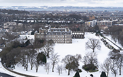 Winter view of Place of  Holyroodhouse in the snow, Edinburgh, Scotland, UK