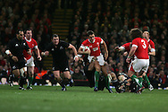 Lee Byrne of Wales makes a break. Invesco Perpetual series 2008 autumn international match, Wales v New Zealand at the Millennium Stadium on Sat 22nd Nov 2008. pic by Andrew Orchard, Andrew Orchard sports photography,