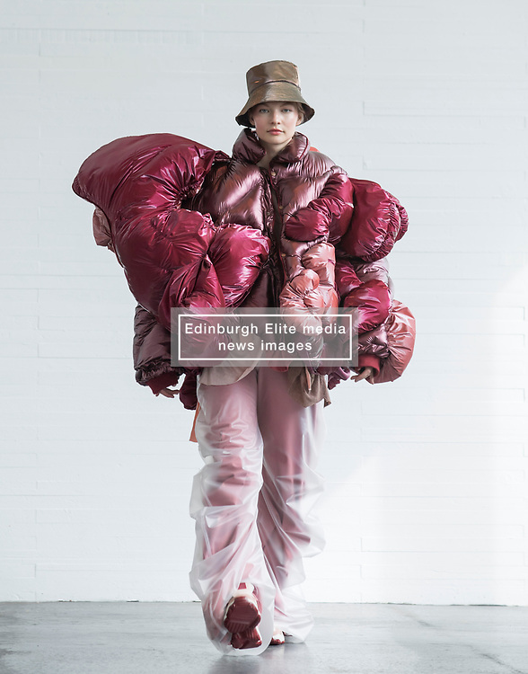 Pictured: design by Rongqing Wang.<br /> <br /> <br /> Students studying fashion design at Glasgow School of Art previewed their work before their annual degree show.<br /> <br /> © Dave Johnston / EEm