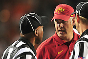 AUSTIN, TX - OCTOBER 18:  Iowa State Cyclones head coach Paul Rhoads has words with the officials against the Texas Longhorns on October 18, 2014 at Darrell K Royal-Texas Memorial Stadium in Austin, Texas.  (Photo by Cooper Neill/Getty Images) *** Local Caption *** Paul Rhoads