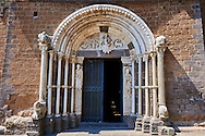 Romanesque main portal of the Basilica Church of Santa Maria Maggiore, Tuscania .<br /> <br /> Visit our ITALY PHOTO COLLECTION for more   photos of Italy to download or buy as prints https://funkystock.photoshelter.com/gallery-collection/2b-Pictures-Images-of-Italy-Photos-of-Italian-Historic-Landmark-Sites/C0000qxA2zGFjd_k .<br /> <br /> Visit our MEDIEVAL PHOTO COLLECTIONS for more   photos  to download or buy as prints https://funkystock.photoshelter.com/gallery-collection/Medieval-Middle-Ages-Historic-Places-Arcaeological-Sites-Pictures-Images-of/C0000B5ZA54_WD0s