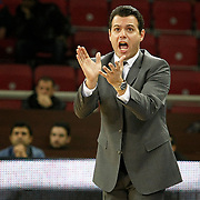 Banvit's coach Dimitrios Itoudis during their BEKO Basketball League match Anadolu Efes between Banvit at Abdi Ipekci Arena in Istanbul Turkey on Sunday 05 January 2014. Photo by TURKPIX