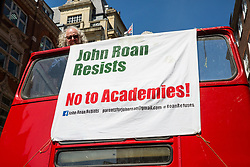 London, UK. 14 May, 2019.  NEU members from The John Roan School, a secondary school at Maze Hill, Greenwich, who are taking strike action as part of a campaign to revoke an academy order imposed on the school and to stop its forced academisation, join parents on a picket line outside the Department for Education.