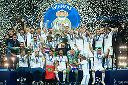 Players of Real Madrid celebrate after they won 3-1 during the UEFA Champions League final football match between Liverpool and Real Madrid and became Champions League  2018 Champions third time in a row at the Olympic Stadium in Kiev, Ukraine on May 26, 2018.Photo by Sandi Fiser / Sportida