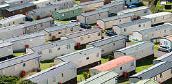 View of many static holiday home caravans at Pease Bay Leisure Park  on Berwickshire coast, Scotland, UK.