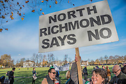 A rally at Richmond - led by Zac Goldsmith and attended by Gyles Brandreth, Alistair Mc Gowan and local protest groups - is followed by various protests at the airport itself led by Rising Tide and other protest groups.