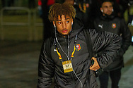 Yann Gboho (34) of Rennes arrives at Celtic Park ahead of  the Europa League match between Celtic and Rennes at Celtic Park, Glasgow, Scotland on 28 November 2019.