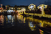 Hoi An Lantern Festival - The monthly Hoi An lantern festival falls on the night of the full moon, when bright lights are swapped for silk lanterns and candles.  Lighting a small lantern and sending it down the river is a popular custom here.  In the evenings hundreds of brightly coloured lanterns can be seen floating along the river.  To avoid the crowds in town, many prefer to boat a asampanboat to launch their lantern on the river and avoid the mob entirely.  If you're not in town for the lantern festival,  night-time Hoi An is always lit up with silk lanterns, one of the towns specialties.  Lantern vendors, sometimes combined with sampan boats will combine a lantern-sampan trip for you for around USD$5 lasting around 20 minutes.