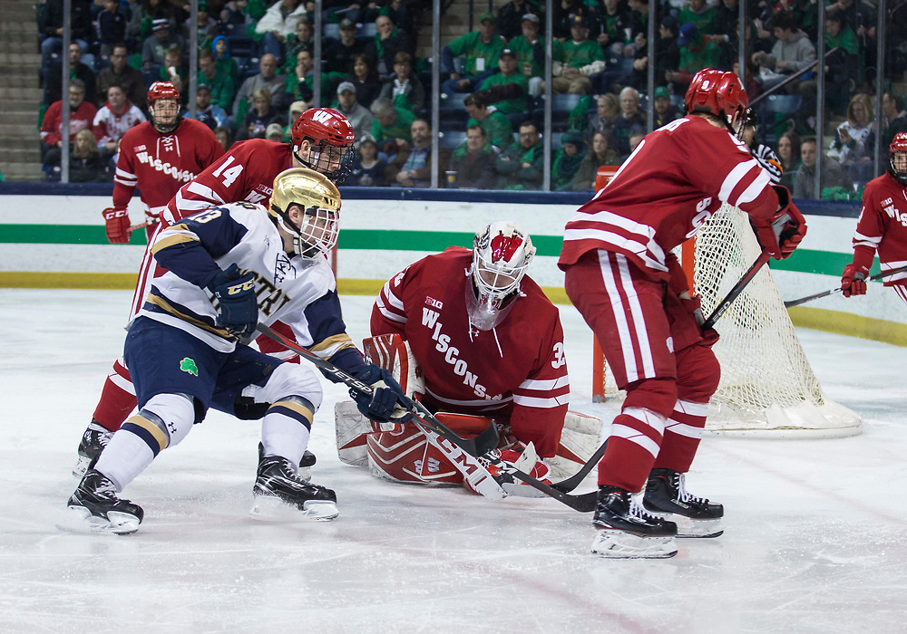 February 15, 2019:  Wisconsin goaltender Daniel Lebedeff (32) makes the save on shot by Notre Dame forward Colin Theisen (13) during NCAA Hockey game action between the Wisconsin Badgers and the Notre Dame Fighting Irish at Compton Family Ice Arena in South Bend, Indiana.  Wisconsin defeated Notre Dame 2-1.  John Mersits/CSM