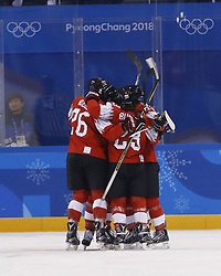 February 18, 2018 - Pyeongchang, KOREA - Switzerland celebrates a goal by Switzerland defenseman Sabrina Zollinger (11) in a hockey game between Switzerland and Korea during the Pyeongchang 2018 Olympic Winter Games at Kwandong Hockey Centre. Switzerland beat Korea 2-0. (Credit Image: © David McIntyre via ZUMA Wire)