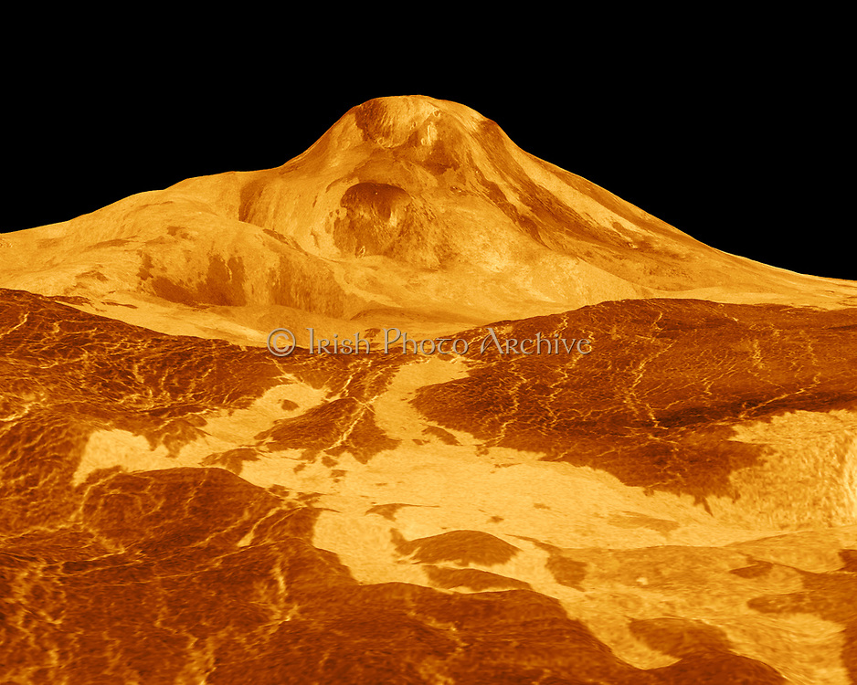 Maat Mons is displayed in this three-dimensional perspective view of the surface of Venus. Magellan.