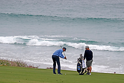 June 12, 2019 - Pebble Beach, CA, U.S. - PEBBLE BEACH, CA - JUNE 12: PGA golfer Matt Kuchar plays the 10th hole during a practice round for the 2019 US Open on June 12, 2019, at Pebble Beach Golf Links in Pebble Beach, CA. (Photo by Brian Spurlock/Icon Sportswire) (Credit Image: © Brian Spurlock/Icon SMI via ZUMA Press)