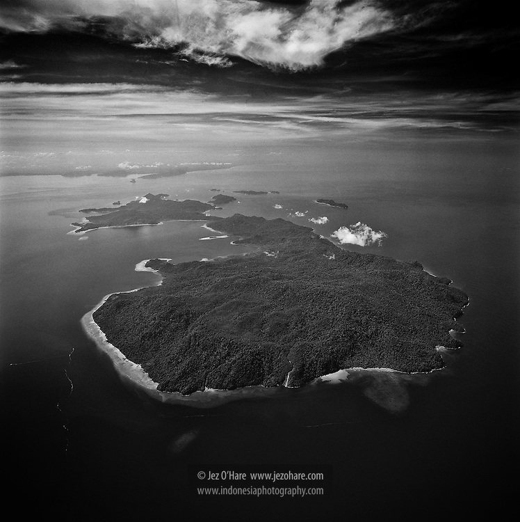 Mursala island's approximately 70m waterfall, North Sumatra, Indonesia.