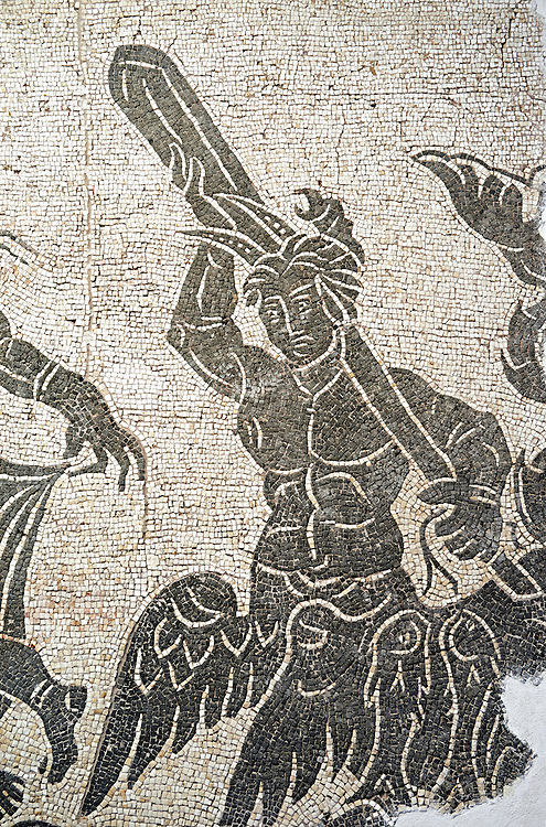 Black and white floor mosaic showing the marine or sea thiasos depicting Poseidon and his retinue.. From the area between the Milvian Bridge and  l'Acqua Acetosa in the locality Tor di Quinto. End of 2nd century AD. National Roman Museum, Rome, Italy .<br /> <br /> If you prefer to buy from our ALAMY PHOTO LIBRARY  Collection visit : https://www.alamy.com/portfolio/paul-williams-funkystock/national-roman-museum-rome-mosaic.html <br /> <br /> Visit our ROMAN ART & HISTORIC SITES PHOTO COLLECTIONS for more photos to download or buy as wall art prints https://funkystock.photoshelter.com/gallery-collection/The-Romans-Art-Artefacts-Antiquities-Historic-Sites-Pictures-Images/C0000r2uLJJo9_s0