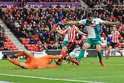 March 2, 2019 - Sunderland, England, United Kingdom - Plymouth Argyle's Niall Canavan and Plymouth Argyle's Kyle Letheren attempt to block a cross during the Sky Bet League 1 match between Sunderland and Plymouth Argyle at the Stadium Of Light, Sunderland on Saturday 2nd March 2019. (Credit Image: © Mi News/NurPhoto via ZUMA Press)