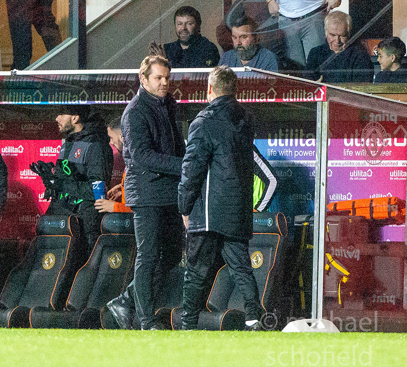 Dundee United's manager Robbie Neilson and Alloa Athletic's manager Peter Grant at the end. Dundee United 2 v 1 Alloa Athletic, Scottish Championship game played 7/12/2019 at Dundee United's stadium Tannadice Park.