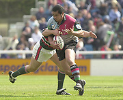 Twickenham, Surrey, England,  UK., 14/05/2003,  Tani Fugi, breaking through the midfield, during, the Zurich Premiership Rugby match, NEC Harlequins vs Leicester Tigers, played at the Stoop Memorial Ground, [Mandatory Credit: Peter Spurrier/Intersport Images]