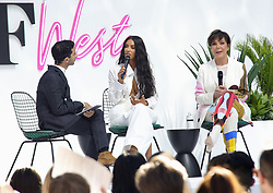 Kim Kardashian opens her pop up for beauty line with cleavage top and speaks on panel for fashion show for BOF West (Business of Fashion). 18 Jun 2018 Pictured: Kim Kardashian. Photo credit: APEX / MEGA TheMegaAgency.com +1 888 505 6342