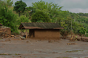 A small warehouse affected by a flood of mud in Paracatu de Baixo, one of the districts of Mariana, a brazilian city in the state of Minas Gerais. On november 5th, a mining waste dam failed causing a flood of mud.