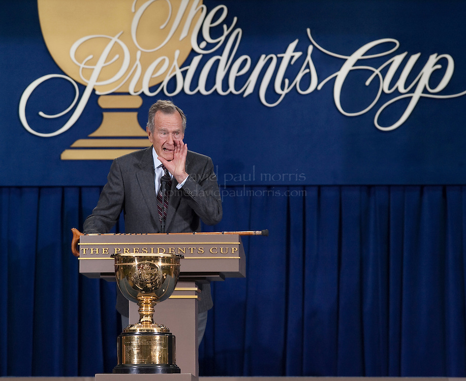 Former President George H.W. Bush speaks during opening ceremonies of the 2009 Presidents Cup at Harding Park Golf Course October 7, 2009 in San Francisco, California.  Photograph by David Paul Morris