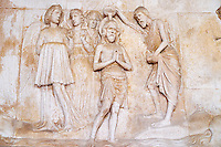 Croatie, Dalmatie, côte dalmate, centre historique de Trogir classé Patrimoine Mondial de l' UNESCO, la cathedrale Saint Laurent, portail occidental // Croatia, Dalmatia, Trogir, Unesco world Heritage site, Saint Laurent cathedral, west door