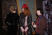 """Jo Brocklehurst, 'Izzy"""" and Gill Curry. Zandra Rhodes- A Lifelong Affair with textiles.-Zandra Rhodes retrospective exhibition. Fashion and Textile museum. 1 February 2005. ONE TIME USE ONLY - DO NOT ARCHIVE  © Copyright Photograph by Dafydd Jones 66 Stockwell Park Rd. London SW9 0DA Tel 020 7733 0108 www.dafjones.com"""