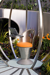 Outside office with brushed steel work pod in the Microsoft SoGo Garden. Design Lizzie Taylor and Dawn Isaac - Chelsea 2005