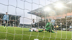 Falkirk's Rory Loy celebrates after scoring their second goal.<br /> Falkirk 2 v 0 Dundee, Scottish Championship game at The Falkirk Stadium.<br /> © Michael Schofield.