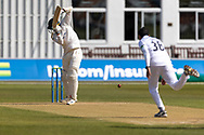 Chris Wright lets go of the bat whilst facing Mohammad Abbas during the final day of the LV= Insurance County Championship match between Leicestershire County Cricket Club and Hampshire County Cricket Club at the Uptonsteel County Ground, Leicester, United Kingdom on 11 April 2021..