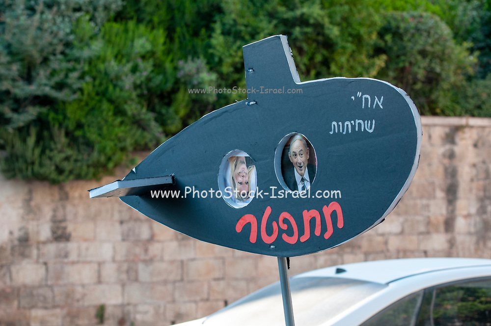 Protesters on an ongoing sit down protest are protesting the alleged crimes of corruption and mis management of the state by Prime Minister Benjamin (Bibi) Netanyahu in front of the official residence in Balfour street, West Jerusalem, Israel Photographed on 22 July 2020.