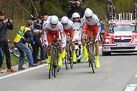 Team Katusha - 28.04.2015 - Tour de Romandie - Etape 01 : Vallee de Joux / Juraparc - CLM Par Equipes<br />Photo : Sirotti / Icon Sport  *** Local Caption ***