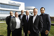 SHOT 10/31/18 11:35:59 AM - Mediacom Communications Corporation is a cable television and communications provider headquartered in Chester, New York. Founded in 1995 by Rocco B. Commisso, it serves primarily smaller rural markets in the Midwest and Southern United States. In the group photo Mediacom's Jack Griffin, Mark Stephan, Tom Larsen, Ruben Martino, Rocco Commisso and CoBank RM Gary Franke. (Photo by Marc Piscotty © 2018)