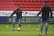 AFC Wimbledon defender Tennai Watson (2) warming up during the EFL Sky Bet League 1 match between Charlton Athletic and AFC Wimbledon at The Valley, London, England on 15 December 2018.