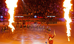 12.09.2010, Dom Sportova, Zagreb, CRO, EBEL, KHL Medvescak Zagreb vs Red Bull Salzburg, im Bild Einlauf der beiden Mannschaften mit Feuershow, EXPA Pictures © 2010, PhotoCredit: EXPA/ nordphoto/ pixsell/ Sanjin Strukic *** ATTENTION *** GERMANY OUT! / SPORTIDA PHOTO AGENCY