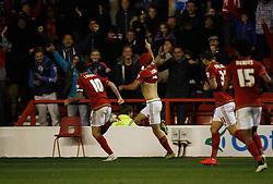 Eric Lichaj of Nottingham Forest (C) celebrates scoring his sides first goal - Mandatory byline: Jack Phillips / JMP - 07966386802 - 20/10/2015 - FOOTBALL - The City Ground - Nottingham, Nottinghamshire - Nottingham Forest v Burnley - Sky Bet Championship