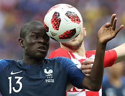MOSCOW, July 15, 2018  Ngolo Kante (L) of France vies with Ante Rebic of Croatia during the 2018 FIFA World Cup final match between France and Croatia in Moscow, Russia, July 15, 2018. (Credit Image: © Yang Lei/Xinhua via ZUMA Wire)