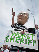 02 MAY 2009 -- PHOENIX, AZ: An anti-Arpaio protester dressed as the sheriff at the rally Saturday. About 1,500 people opposed to Sheriff Joe Arpaio's treatment of prisoners and his high profile crime suppression anti-undocumented raids, marched from his office to downtown Phoenix to the jail complexes on Durango in south Phoenix Saturday. Photo by Jack Kurtz