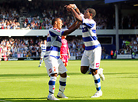 Photo: © Andrew Fosker / Richard Lane Photography - Mikele Leigertwood (r) celebrates slotting in QPR's first goal of the game with Wayne Routledge (L)    Queens Park Rangers v Barnsley - Coca-Cola Championship - 26/09/09 Loftus Road - London -  UK - All Rights Reserved