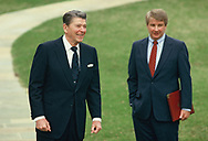 President Ronald Reagan and  press scretary Larry Speakes at the C 9 position of the South Lawn of the White House on March 6, 1986<br />Photo by Dennis Brack
